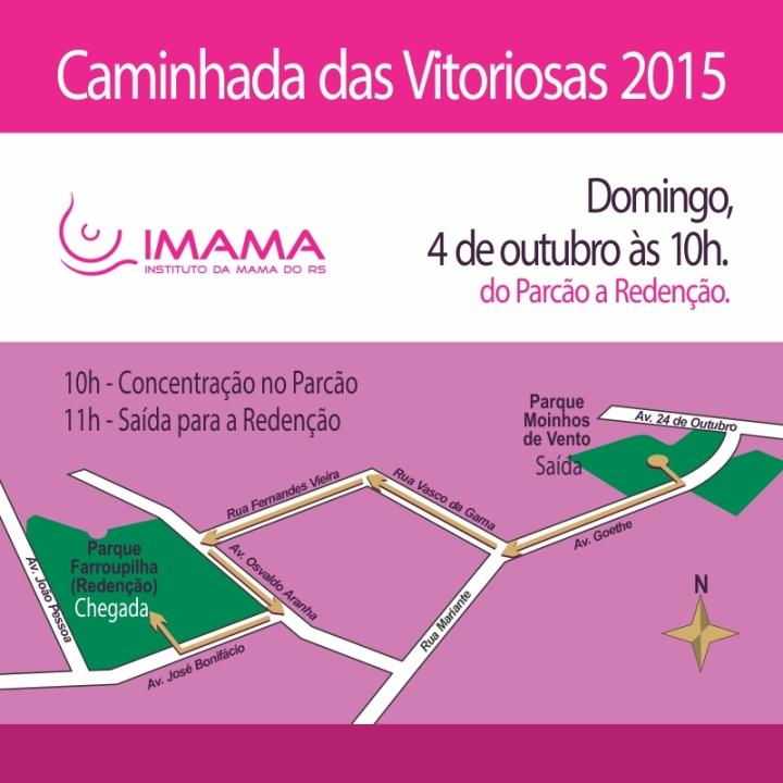 Mapa do Percurso da Caminhada das Vitoriosas 2015 - IMAMA-RS