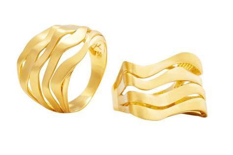 Anel quadrado curvas de ouro amarelo