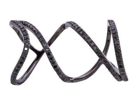 Anel Articulado Ouro Negro e Diamantes Negros